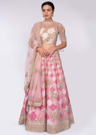 Pink and white shade raw silk lehenga paired with light champagne embroidered net blouse