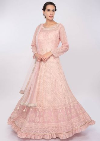 Pink georgette anarkali dress in thread and zari embroidery only on Kalki
