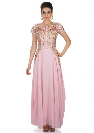 Pink Georgette Gown Enhanced with Resham and Kundan Embroidery only on Kalki
