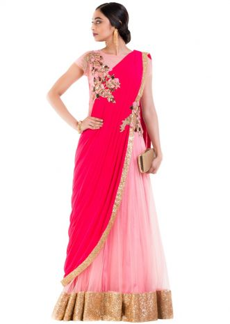 Pink Gown Saree With Rani Pink Palla