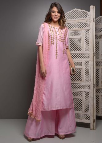 Pink palazzo suit set in kachhi gott a patti embroidery