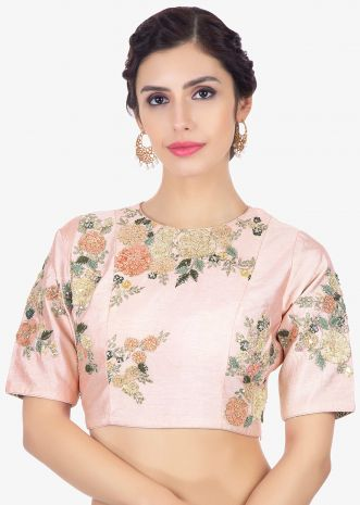 Pink Blouse In Raw Silk With Velvet And Zari Floral Embroidery