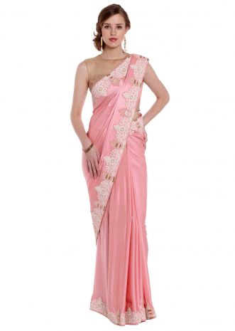 Pink satin saree in zardosi and french knot embroidery only on Kalki