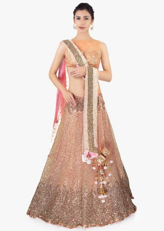 Pink sequins embroidered lehenga set paired with a matching net dupatta
