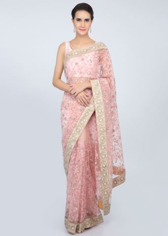 Pink sheer net saree jaal embroidered  saree with contrasting beige raw silk blouse only on kalki