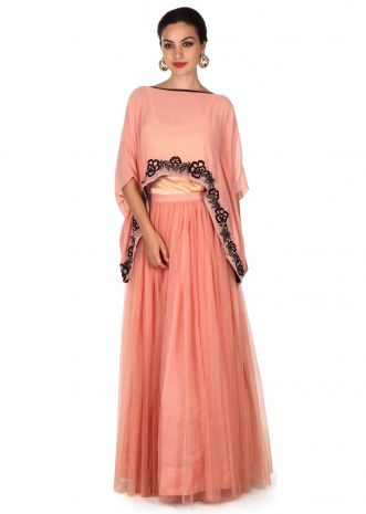 Pink skirt matched with fancy cape only on Kalki