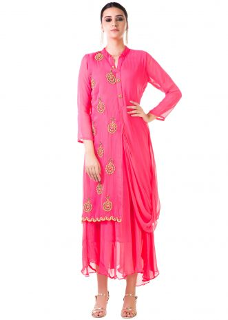 Pink Hand Embroidered Cowl Tunic Dress