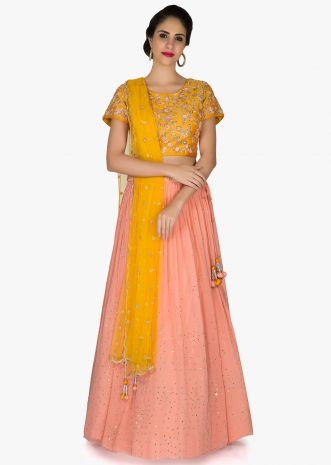 Pink Yellow Shimmer Net and Silk Lehenga Blouse with Embroidered Motifs only on Kalki