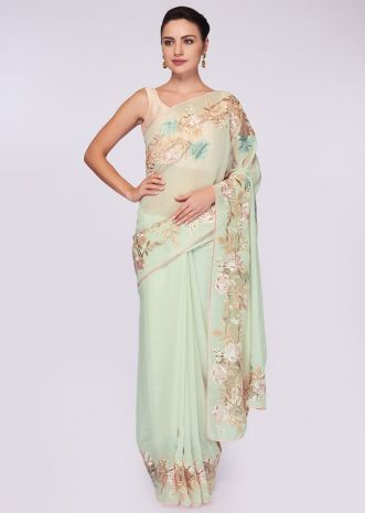 Pista green georgette saree having lower bottom in floral resham embroidery