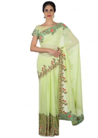 Pista green saree in french knot embroidery with ready blouse only on Kalki