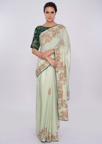 Pista green satin saree with emerald green silk blouse with cut dana embroidery only on kalki