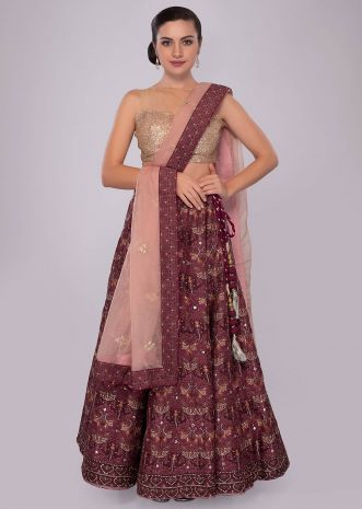 Plum and maroon shade cotton lehenga with self print and embroidery