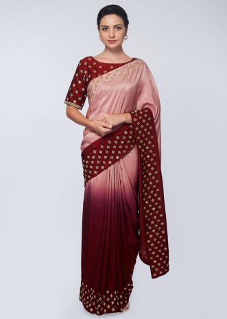Plum and millennial peach  satin saree in abla and cut dana  embroidered butti