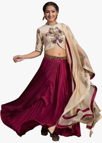 Plum skirt in satin with cream blouse in zardosi embroidery