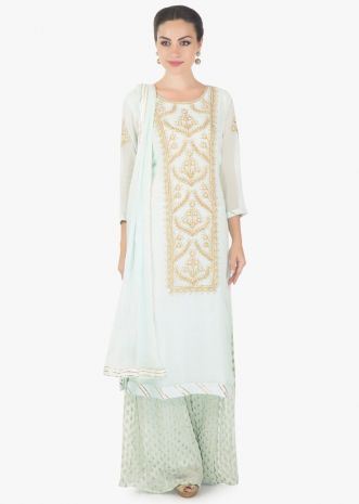 Powder blue straight palazzo suit in georgette with resham and zari work
