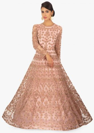 Powder pink floral thread embroidered net anarkali gown