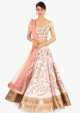 Powder pink raw silk embroidered lehenga set paired with pink net dupatta