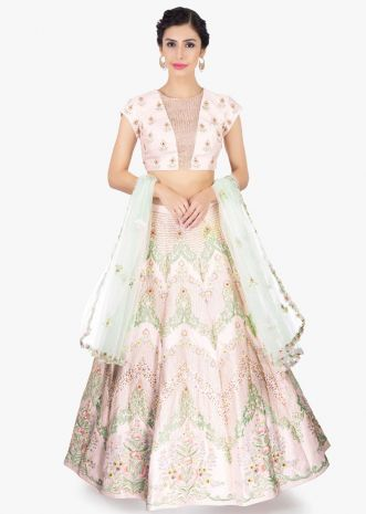 Powder pink raw silk embroidered lehenga set paired with pistachio green net dupatta