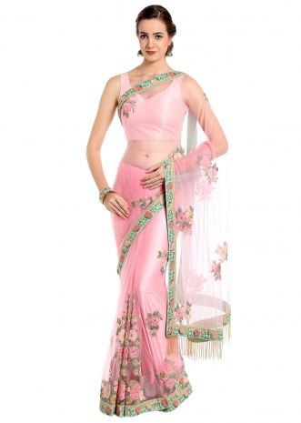 Powder pink saree in flower patch work embroidery only on Kalki