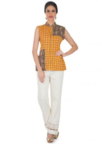Printed Mustard Yellow Ethnic Sleeveless Top  only on Kalki