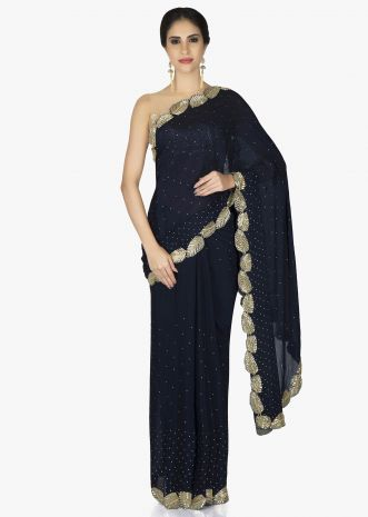 Black Crepe Chiffon Saree and Blouse Styled with Zardosi Leaf Motifs only on Kalki