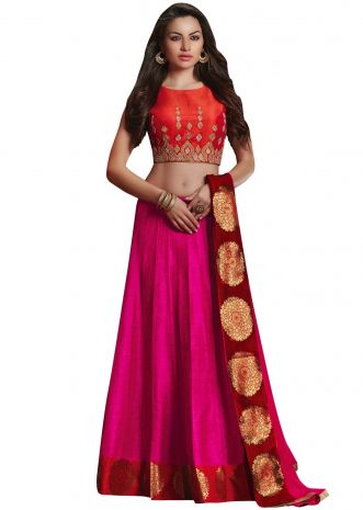 Rani pink and orange raw silk lehenga with zari embroidery