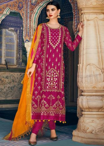 Rani pink straight suit in silk with gotta patch and zari embroidery