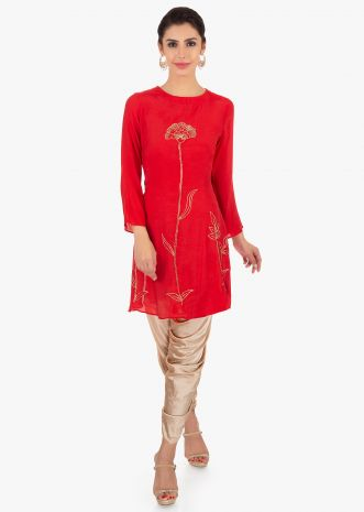 Red cotton embroidered top paired with a grey satin dhoti pant