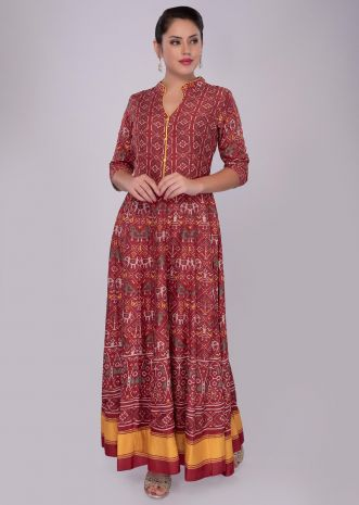 Red cotton tunic dress with patola print