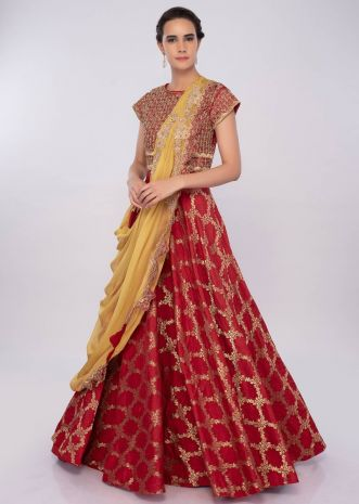 Red raw silk  brocade anarkali with yellow organza stitched dupatta only on kalki