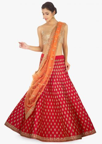 Red raw silk lehenga and blouse paired with a contrasting peach net dupatta