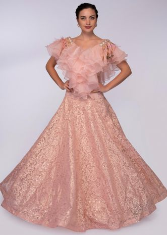 Rose pink chantilly lace lehenga styled with ruffled organza blouse only on Kalki