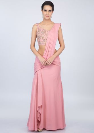 Rose pink ready pleated saree with matching embroidered blouse only on kalki