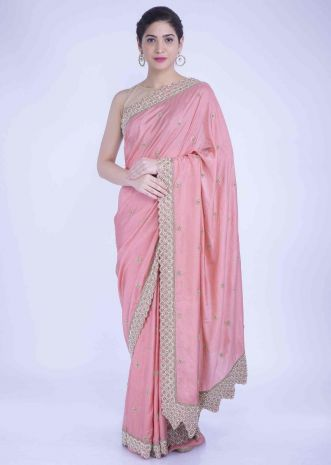 6885fb7514 Rose pink silk saree with scalloped border only on Kalki ...