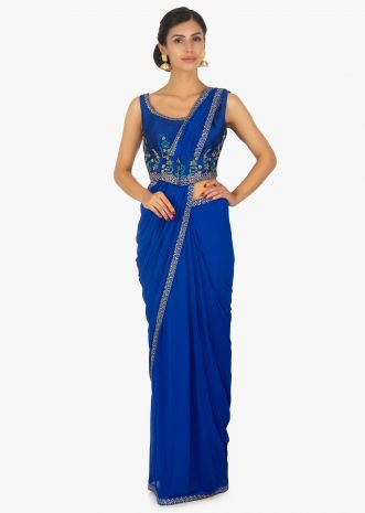 Royal blue georgette saree with pre stitched pallo and pleats