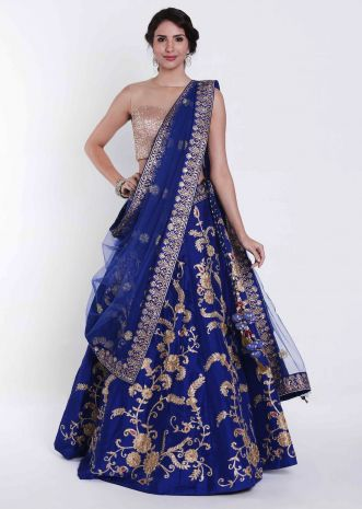 Royal blue lehenga in silk embellished in foil print only on Kalki