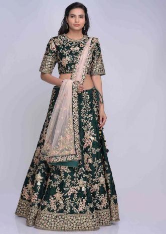 406bf88adf Royal green velvet lehenga set with powder peach net dupatta only on Kalki