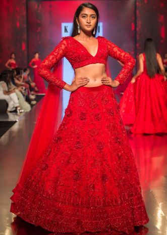 de34ac689802 Ruby red embroidered net lehenga set with floral and temple motif only on  Kalki ...