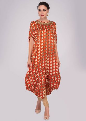 Rust fancy cotton tunic with floral printed butti