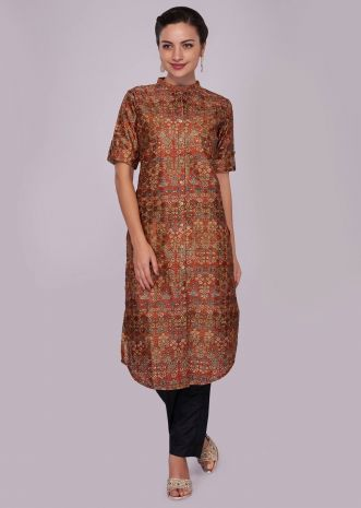 Rust jacquard silk printed kurti with placket highlighted in buttons