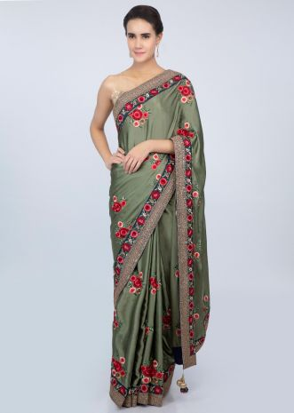 Sage green satin saree with multi color floral resham embroidery and butti only on kalki