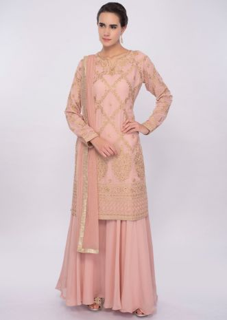 Salmon pink resham and kundan embroidered palazzo suit only on Kalki