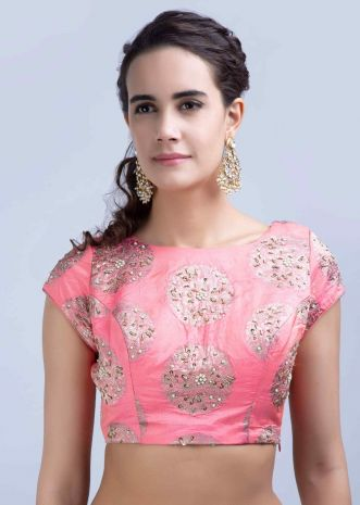 1d726a3ad Salmon pink silk blouse with embroidered brocade butti only on Kalki ...