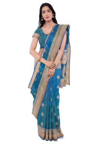 a08639a27c Sapphire blue two toned banarasi silk saree with matching blouse piece only  on Kalki