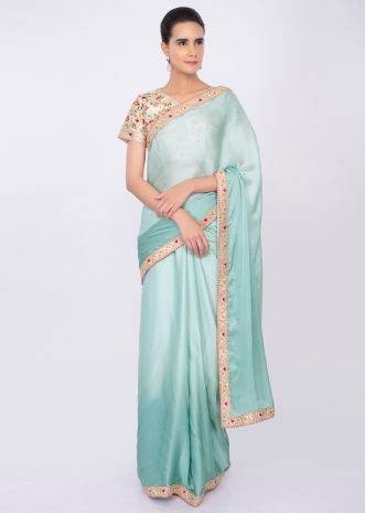 Satin crepe shaded saree in tone of blue  only on kalki