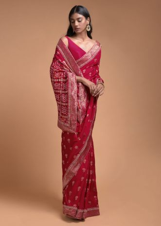 Scarlet Red Saree In Silk With Weaved Floral Buttis And Bandhani Printed Pallu Online - Kalki Fashion