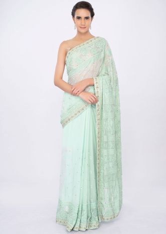 Sea green georgette saree in lucknowi embroidery only on kalki