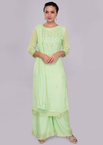 Sea green palazzo suit in self thread embroidery and butti