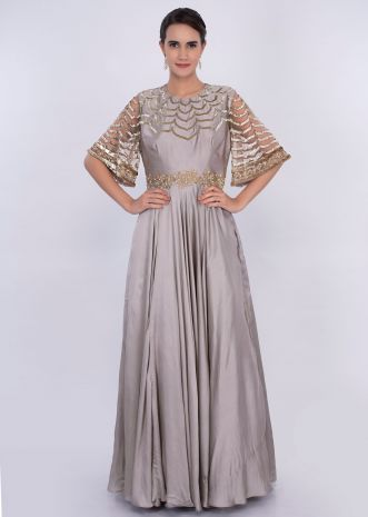 Silver grey A line gown with scallop embroidery