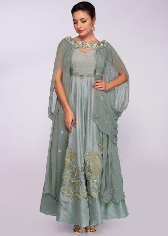 Silver grey anarkali gown with cowl drape fancy dupatta